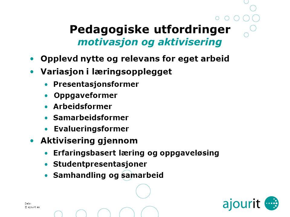 Dato: © ajourit as Pedagogiske utfordringer motivasjon og aktivisering Opplevd nytte og relevans for eget arbeid Variasjon i læringsopplegget Presenta