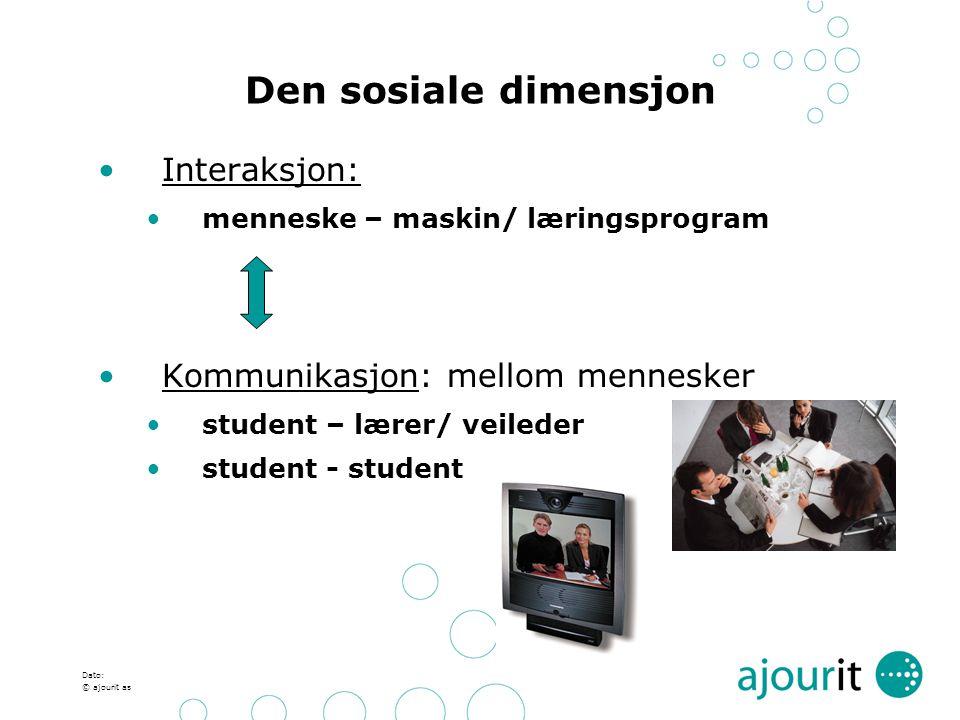 Dato: © ajourit as Den sosiale dimensjon Interaksjon: menneske – maskin/ læringsprogram Kommunikasjon: mellom mennesker student – lærer/ veileder stud