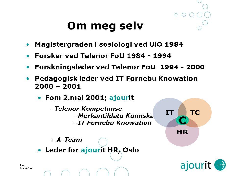 Dato: © ajourit as Om meg selv Magistergraden i sosiologi ved UiO 1984 Forsker ved Telenor FoU 1984 - 1994 Forskningsleder ved Telenor FoU 1994 - 2000