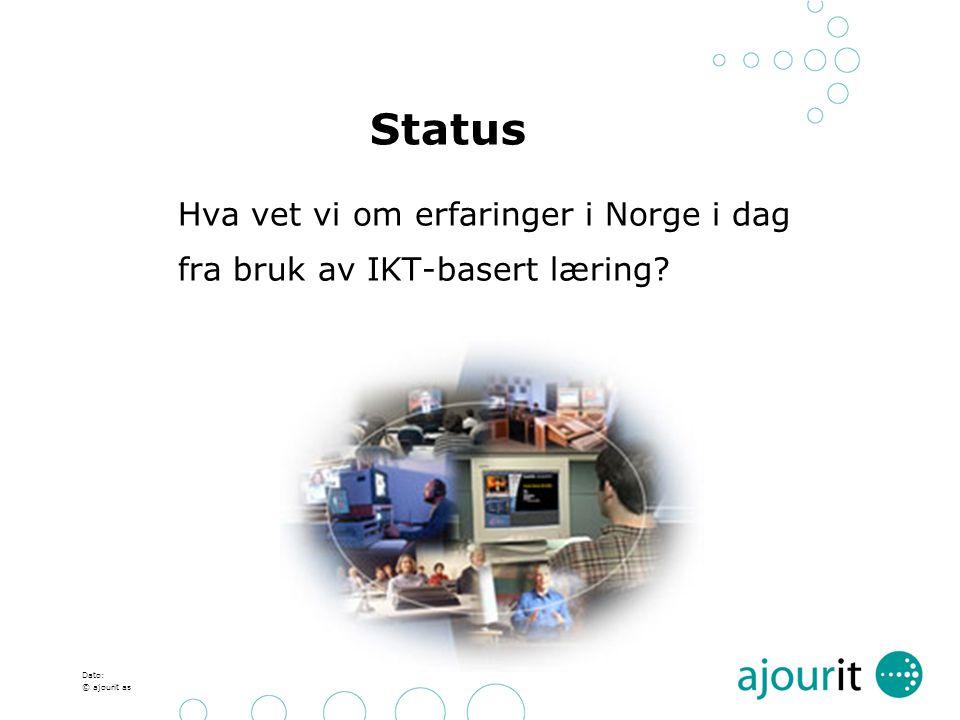 Dato: © ajourit as Status Hva vet vi om erfaringer i Norge i dag fra bruk av IKT-basert læring?