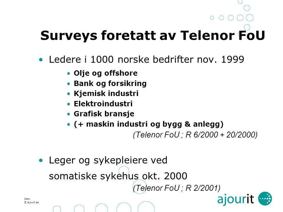 Dato: © ajourit as Surveys foretatt av Telenor FoU Ledere i 1000 norske bedrifter nov. 1999 Olje og offshore Bank og forsikring Kjemisk industri Elekt