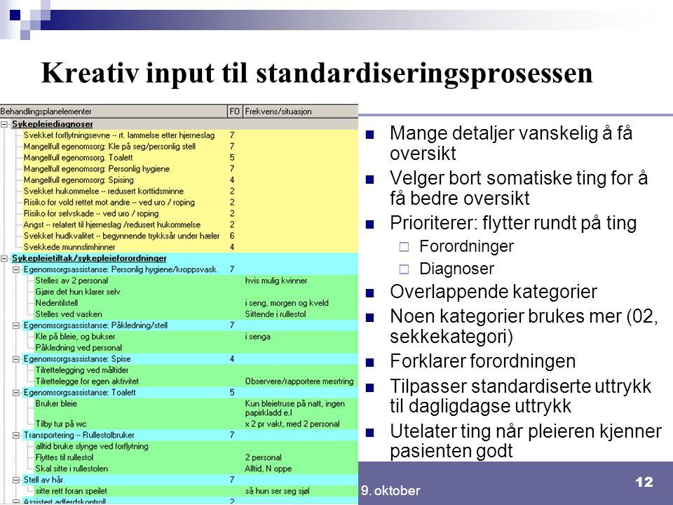 NSEP seminar 19. oktober 12 Kreativ input til standardiseringsprosessen Mange detaljer vanskelig å få oversikt Velger bort somatiske ting for å få bed