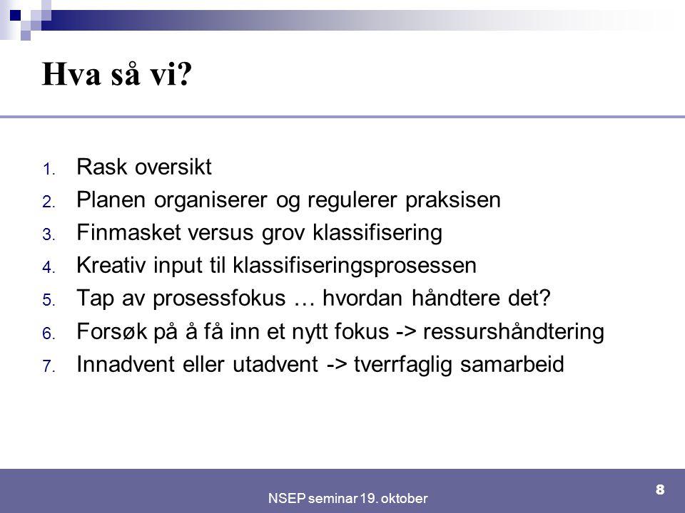 NSEP seminar 19. oktober 8 Hva så vi? 1. Rask oversikt 2. Planen organiserer og regulerer praksisen 3. Finmasket versus grov klassifisering 4. Kreativ