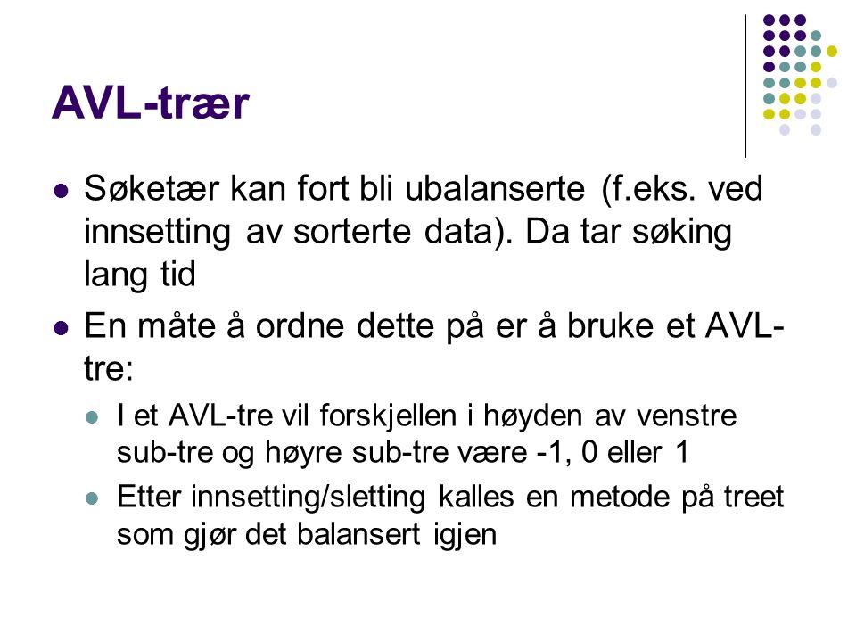 AVL-trær Søketær kan fort bli ubalanserte (f.eks. ved innsetting av sorterte data).