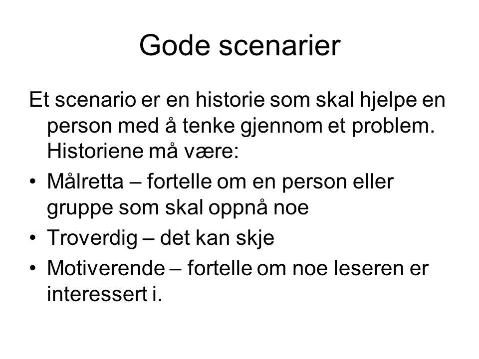 Gode scenarier Et scenario er en historie som skal hjelpe en person med å tenke gjennom et problem. Historiene må være: Målretta – fortelle om en pers