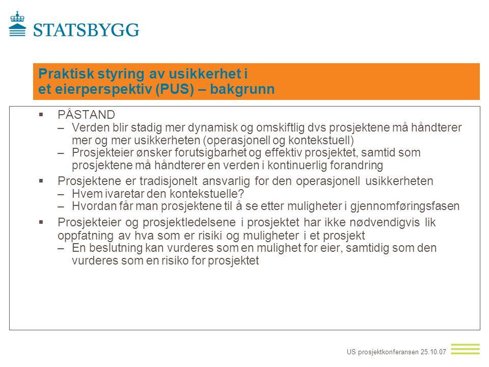 US prosjektkonferansen 25.10.07 Usikkerhetsstyring - operasjonelt (sett fra prosjektets ståsted) 1 Identifisere usikkerhet - finne potensielle hendels