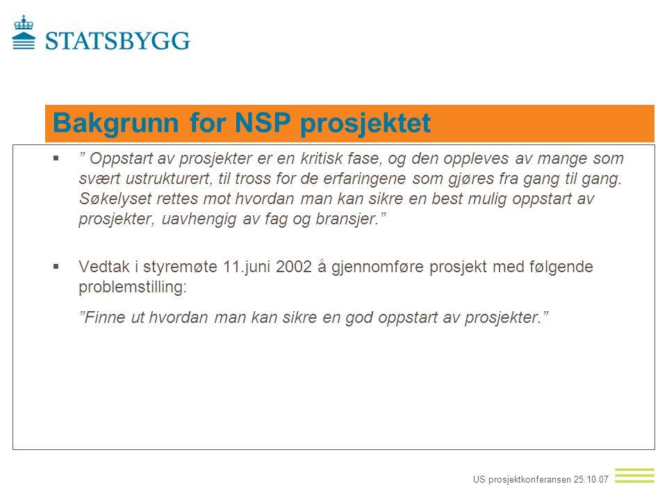 US prosjektkonferansen 25.10.07 Prosjektoppstart og usikkerhetsstyring Referanse ramme  Norsk senter for prosjektledelse (NSP prosjekt) –Oppstart og