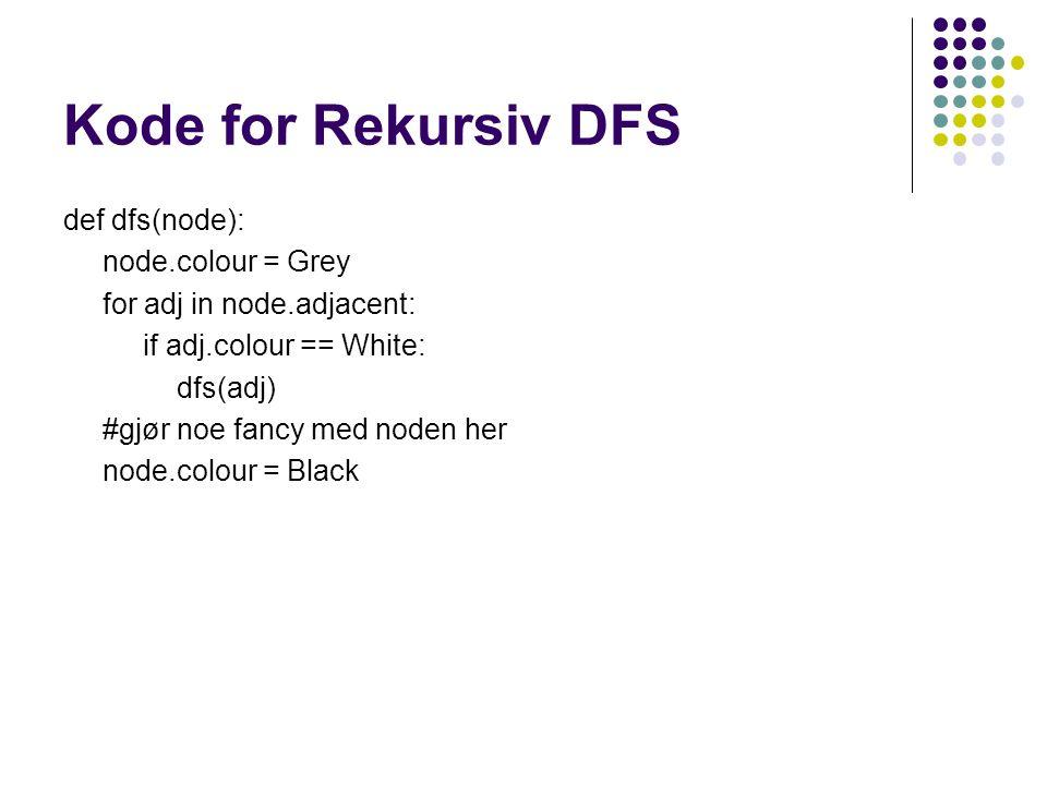 Kode for Rekursiv DFS def dfs(node): node.colour = Grey for adj in node.adjacent: if adj.colour == White: dfs(adj) #gjør noe fancy med noden her node.colour = Black