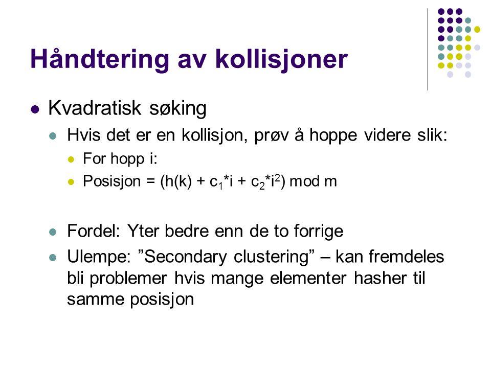Håndtering av kollisjoner Kvadratisk søking Hvis det er en kollisjon, prøv å hoppe videre slik: For hopp i: Posisjon = (h(k) + c 1 *i + c 2 *i 2 ) mod m Fordel: Yter bedre enn de to forrige Ulempe: Secondary clustering – kan fremdeles bli problemer hvis mange elementer hasher til samme posisjon