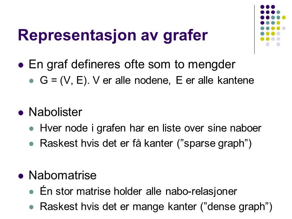 Representasjon av grafer En graf defineres ofte som to mengder G = (V, E).
