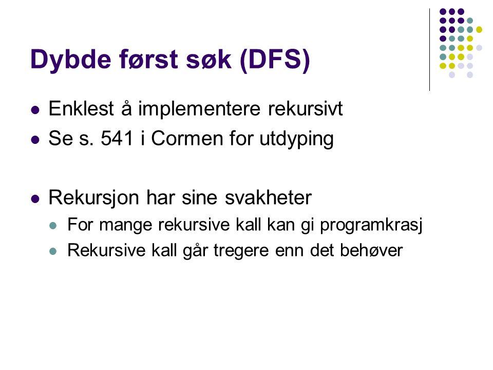 Dybde først søk (DFS) Enklest å implementere rekursivt Se s.