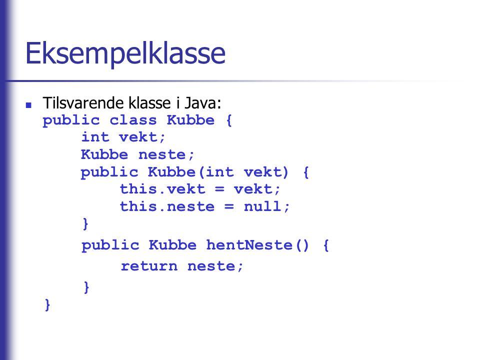 Eksempelklasse Tilsvarende klasse i Java: public class Kubbe { int vekt; Kubbe neste; public Kubbe(int vekt) { this.vekt = vekt; this.neste = null; }