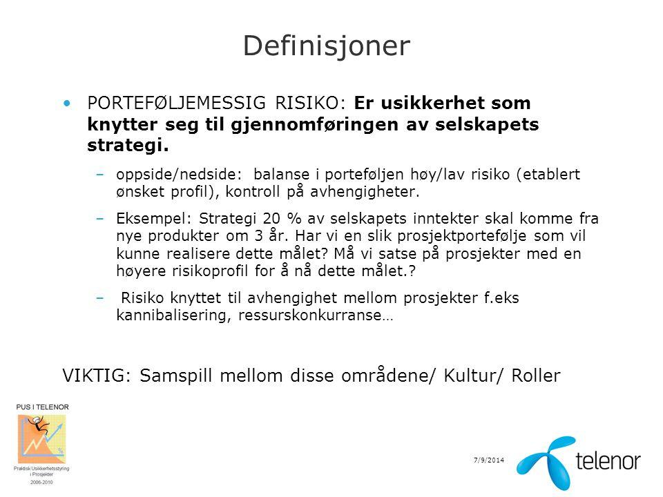 7/9/2014 Definisjoner PORTEFØLJEMESSIG RISIKO: Er usikkerhet som knytter seg til gjennomføringen av selskapets strategi. –oppside/nedside: balanse i p