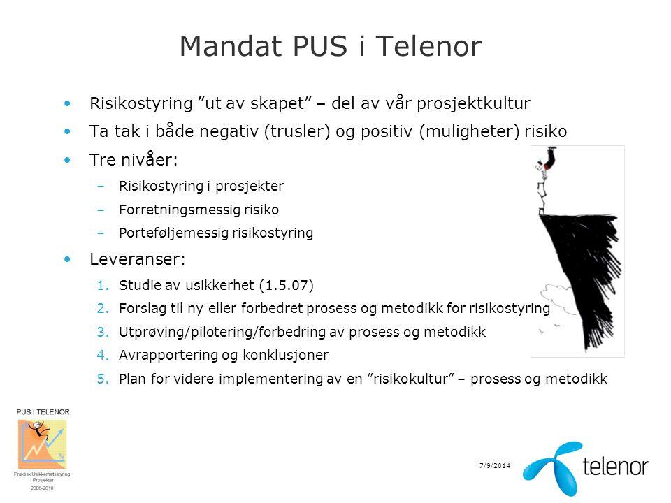 """7/9/2014 Mandat PUS i Telenor Risikostyring """"ut av skapet"""" – del av vår prosjektkultur Ta tak i både negativ (trusler) og positiv (muligheter) risiko"""