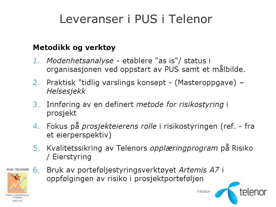 7/9/2014 Leveranser i PUS i Telenor Metodikk og verktøy 1.Modenhetsanalyse - etablere