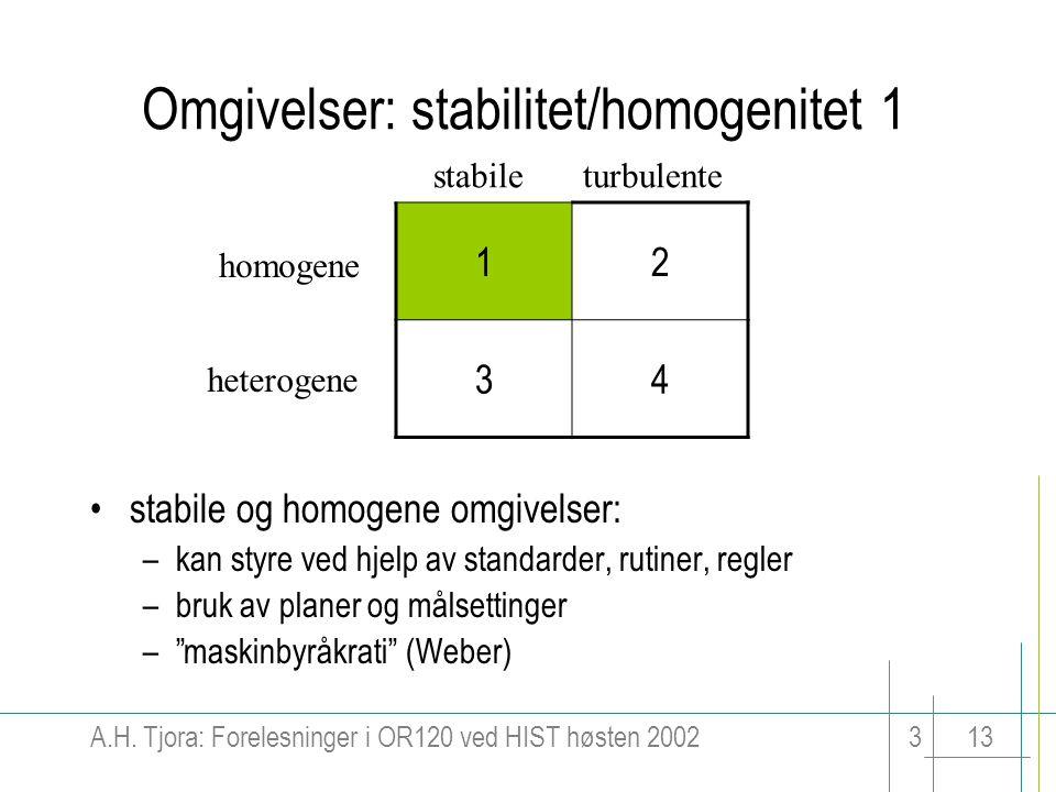 A.H. Tjora: Forelesninger i OR120 ved HIST høsten 2002313 Omgivelser: stabilitet/homogenitet 1 12 34 stabileturbulente homogene heterogene stabile og