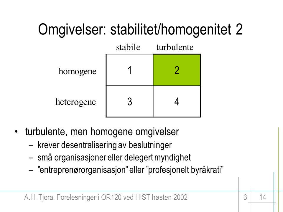 A.H. Tjora: Forelesninger i OR120 ved HIST høsten 2002314 Omgivelser: stabilitet/homogenitet 2 12 34 stabileturbulente homogene heterogene turbulente,