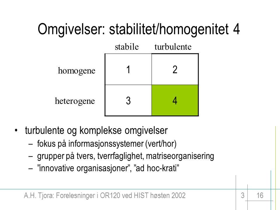 A.H. Tjora: Forelesninger i OR120 ved HIST høsten 2002316 Omgivelser: stabilitet/homogenitet 4 12 34 stabileturbulente homogene heterogene turbulente