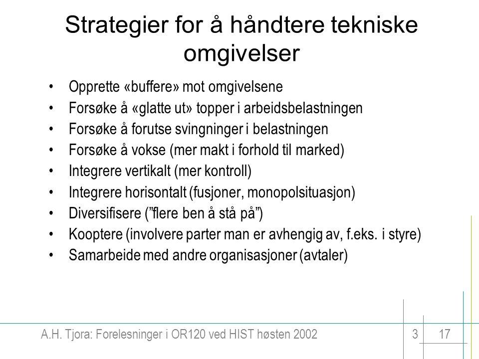 A.H. Tjora: Forelesninger i OR120 ved HIST høsten 2002317 Strategier for å håndtere tekniske omgivelser Opprette «buffere» mot omgivelsene Forsøke å «