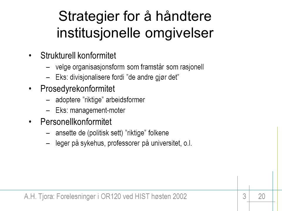 A.H. Tjora: Forelesninger i OR120 ved HIST høsten 2002320 Strategier for å håndtere institusjonelle omgivelser Strukturell konformitet –velge organisa