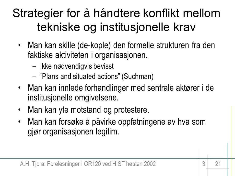 A.H. Tjora: Forelesninger i OR120 ved HIST høsten 2002321 Strategier for å håndtere konflikt mellom tekniske og institusjonelle krav Man kan skille (d