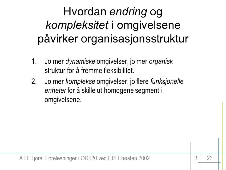 A.H. Tjora: Forelesninger i OR120 ved HIST høsten 2002323 Hvordan endring og kompleksitet i omgivelsene påvirker organisasjonsstruktur 1.Jo mer dynami