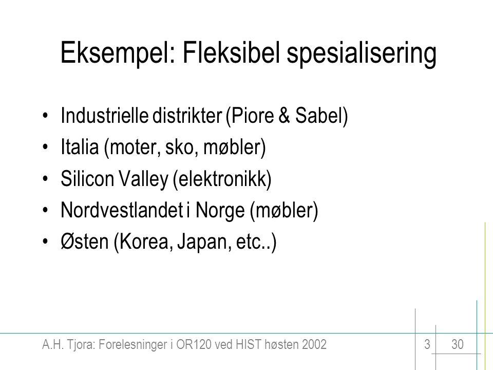 A.H. Tjora: Forelesninger i OR120 ved HIST høsten 2002330 Eksempel: Fleksibel spesialisering Industrielle distrikter (Piore & Sabel) Italia (moter, sk