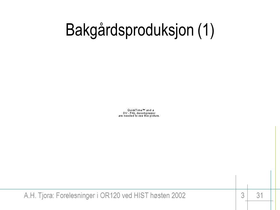 A.H. Tjora: Forelesninger i OR120 ved HIST høsten 2002331 Bakgårdsproduksjon (1)