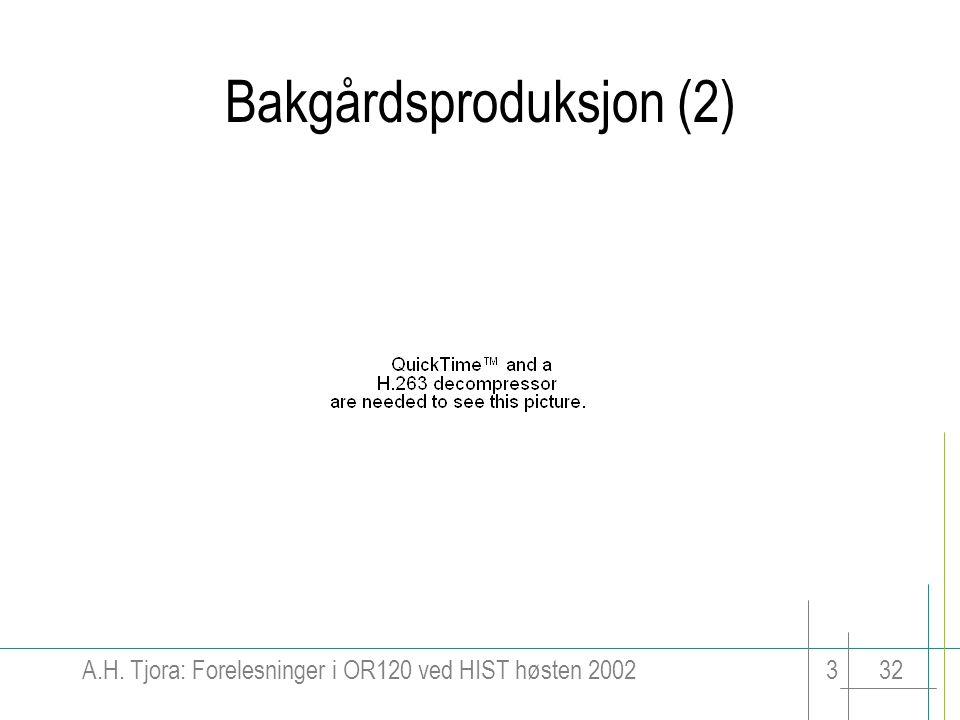 A.H. Tjora: Forelesninger i OR120 ved HIST høsten 2002332 Bakgårdsproduksjon (2)