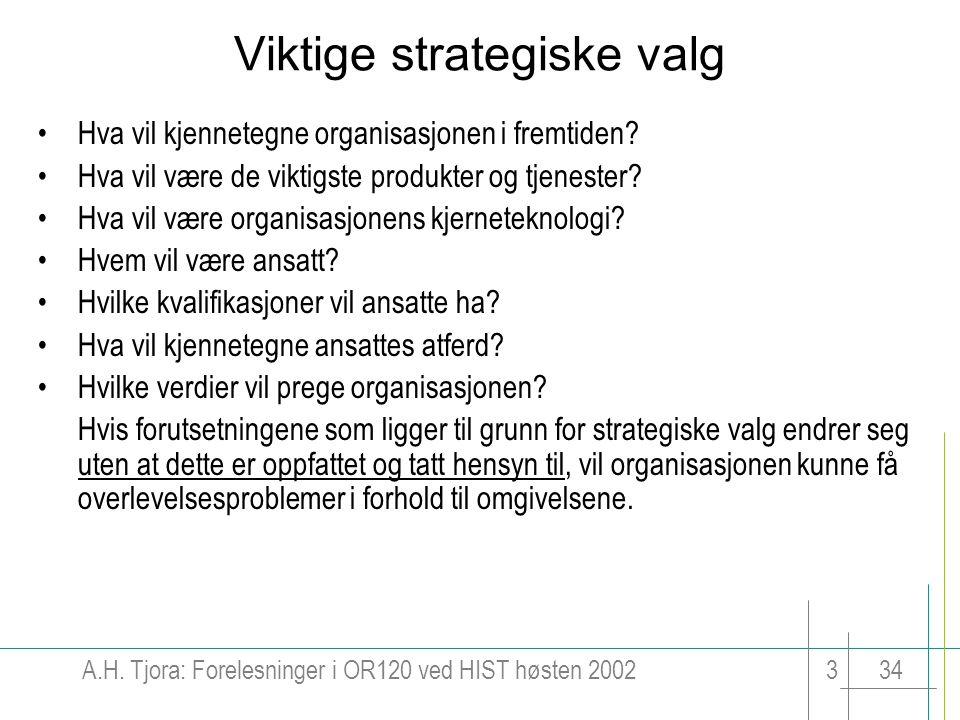 A.H. Tjora: Forelesninger i OR120 ved HIST høsten 2002334 Viktige strategiske valg Hva vil kjennetegne organisasjonen i fremtiden? Hva vil være de vik