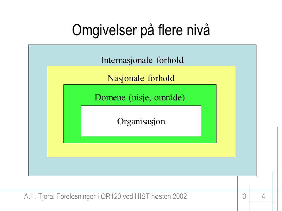 A.H. Tjora: Forelesninger i OR120 ved HIST høsten 200234 Internasjonale forhold Nasjonale forhold Omgivelser på flere nivå Domene (nisje, område) Orga