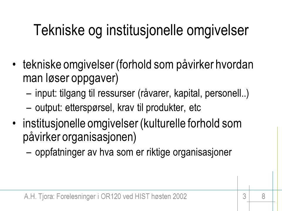 A.H. Tjora: Forelesninger i OR120 ved HIST høsten 200238 Tekniske og institusjonelle omgivelser tekniske omgivelser (forhold som påvirker hvordan man