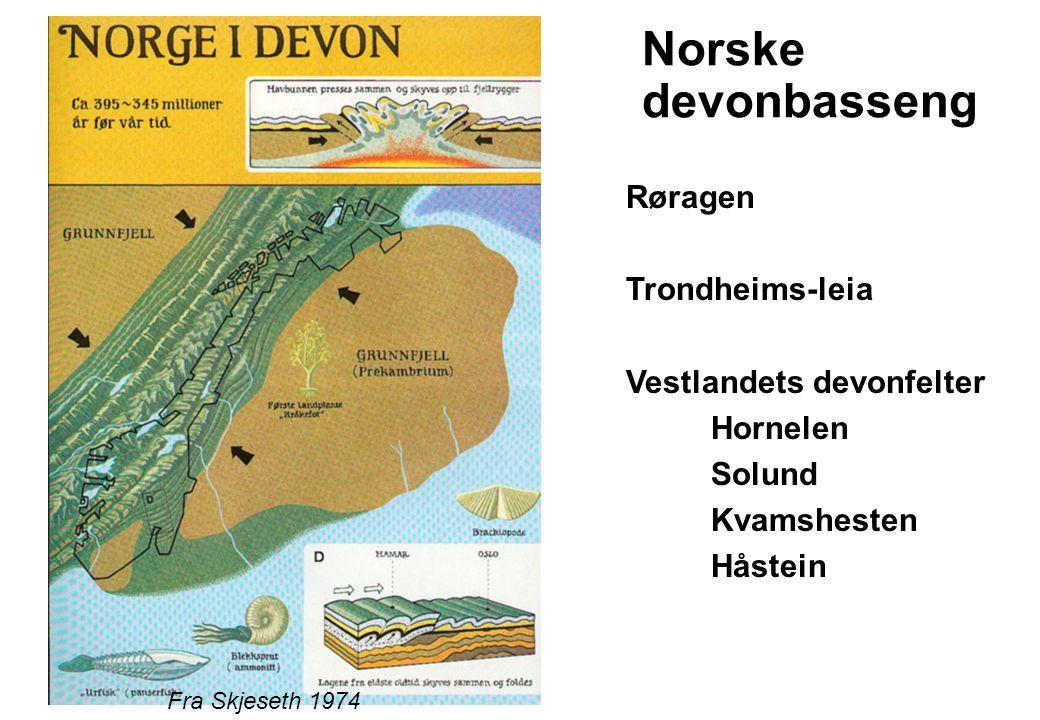Devonfeltene dannes som følge av ny utvidelse etter overskyvningene: forkastningsbetingete sen-orogene basseng Fra Steel et al.