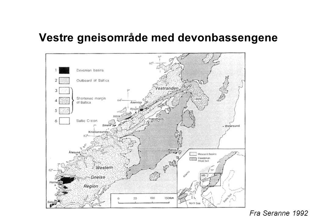 Erosjon av kontinentene Høydeområdene av Laurasia (som ligger ved ekvator) eroderes sterkt: Gir Old Red Sandtones i Europa, mest fluviale sedimenter og Catskill deltaet i USA