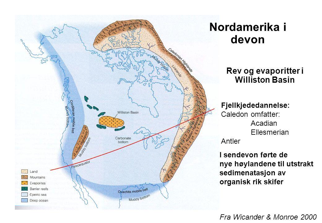 Western Canada Devonian Reef Complex Fra Wicander & Monroe 2000 Barriererev beskytter innlandet Og fører til evaporittdannelse Store oljeforekomster
