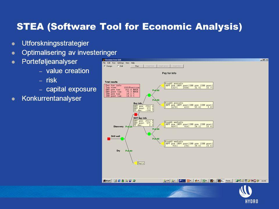 STEA (Software Tool for Economic Analysis) Utforskningsstrategier Optimalisering av investeringer Porteføljeanalyser – value creation – risk – capital