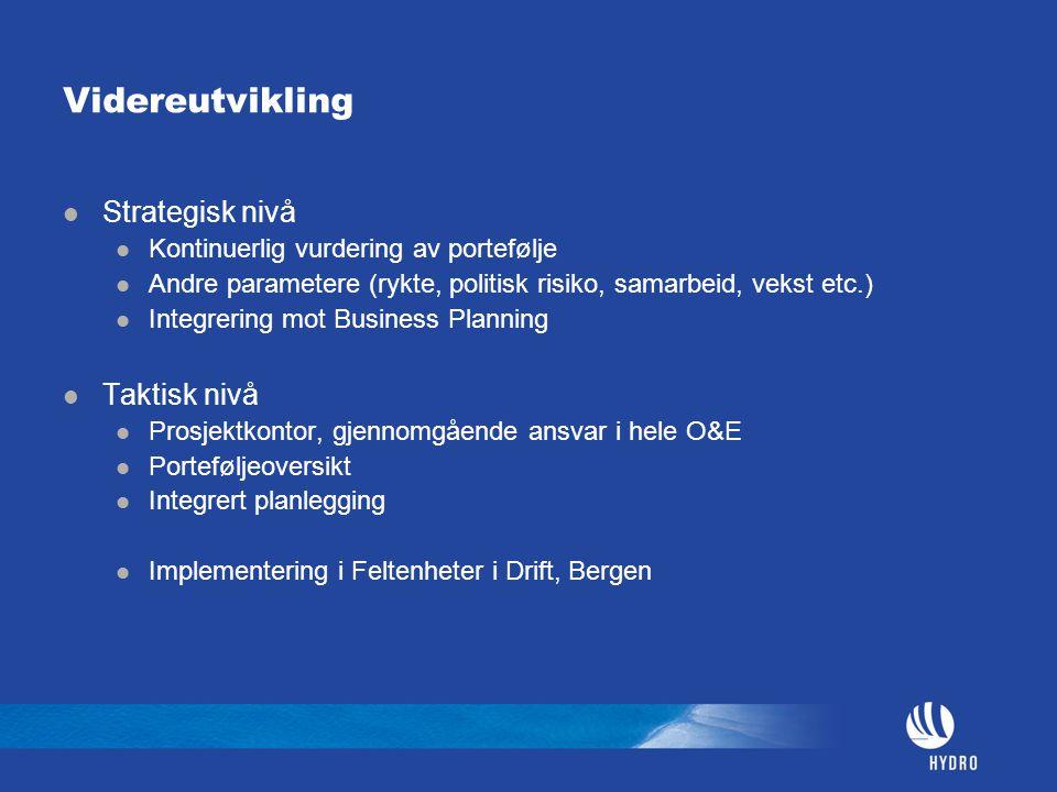 Videreutvikling Strategisk nivå Kontinuerlig vurdering av portefølje Andre parametere (rykte, politisk risiko, samarbeid, vekst etc.) Integrering mot