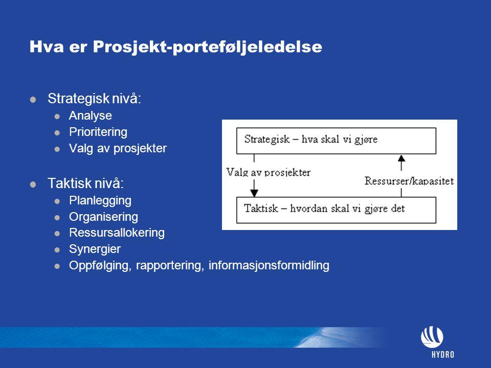Hva er Prosjekt-porteføljeledelse Strategisk nivå: Analyse Prioritering Valg av prosjekter Taktisk nivå: Planlegging Organisering Ressursallokering Sy