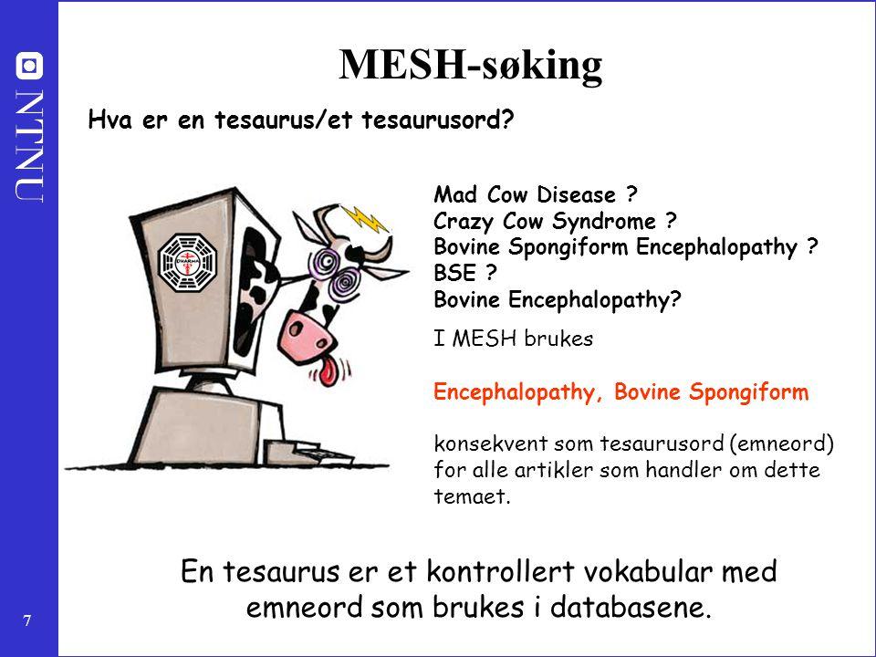 7 MESH-søking Hva er en tesaurus/et tesaurusord? Mad Cow Disease ? Crazy Cow Syndrome ? Bovine Spongiform Encephalopathy ? BSE ? Bovine Encephalopathy