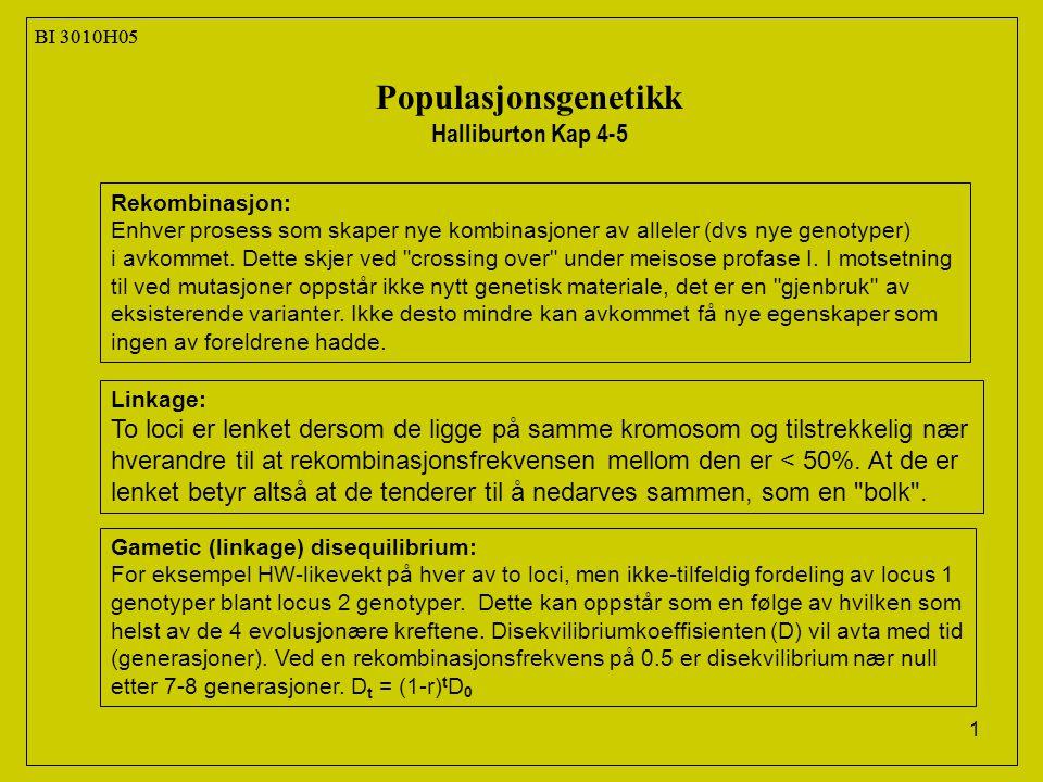 12 BI 3010H05 Populasjonsgenetikk Halliburton Kap 4-5