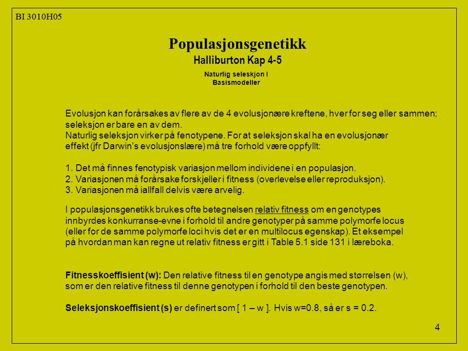 15 BI 3010H05 Populasjonsgenetikk Halliburton Kap 4-5