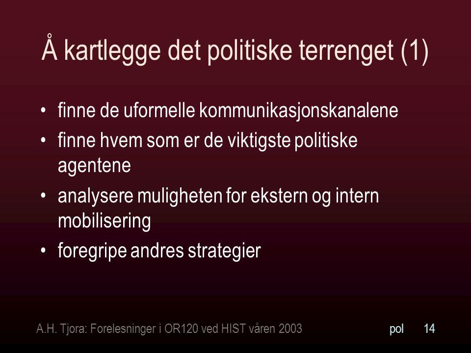 A.H. Tjora: Forelesninger i OR120 ved HIST våren 2003pol14 Å kartlegge det politiske terrenget (1) finne de uformelle kommunikasjonskanalene finne hve