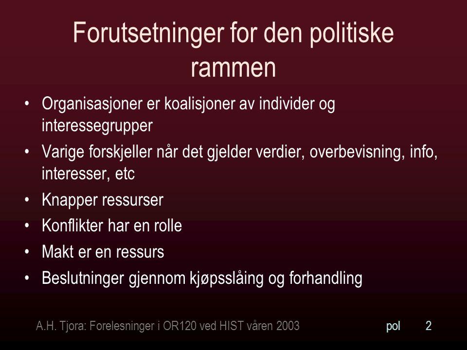A.H. Tjora: Forelesninger i OR120 ved HIST våren 2003pol2 Forutsetninger for den politiske rammen Organisasjoner er koalisjoner av individer og intere