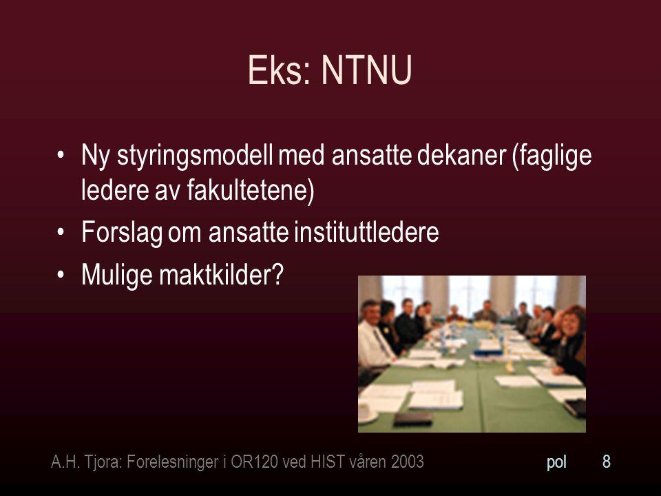 A.H. Tjora: Forelesninger i OR120 ved HIST våren 2003pol19 Profesjonell konflikt