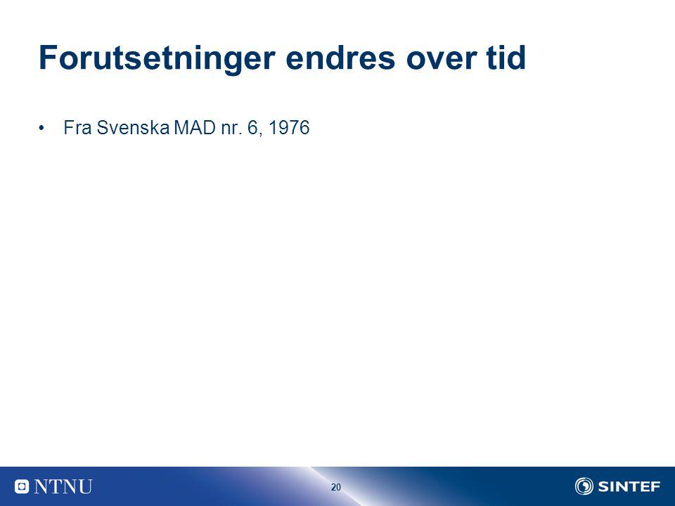20 Forutsetninger endres over tid Fra Svenska MAD nr. 6, 1976