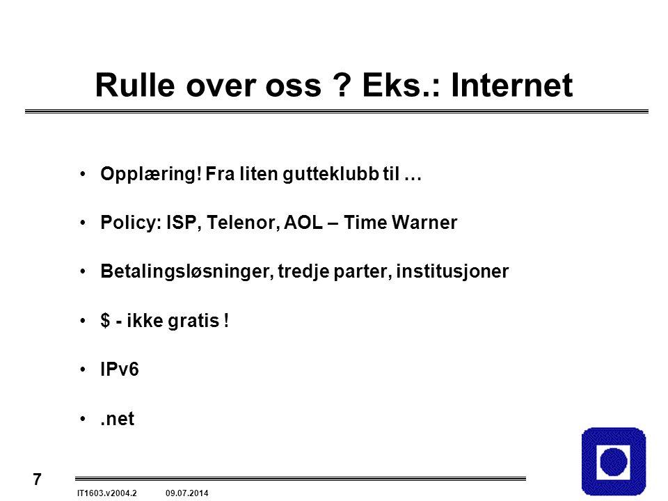 7 IT1603.v2004.2 09.07.2014 Rulle over oss .Eks.: Internet Opplæring.