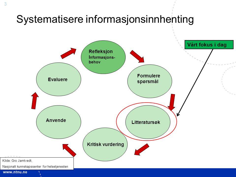 3 Refleksjon I nformasjons- behov Formulere spørsmål Evaluere Anvende Litteratursøk Kritisk vurdering Systematisere informasjonsinnhenting Kilde: Gro