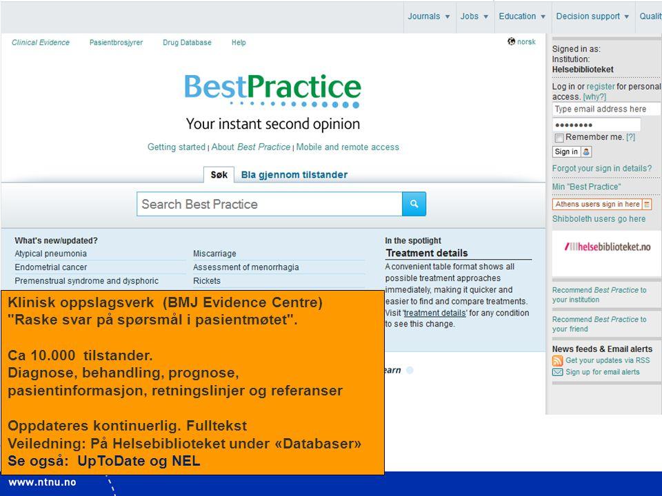 7 Klinisk oppslagsverk (BMJ Evidence Centre)