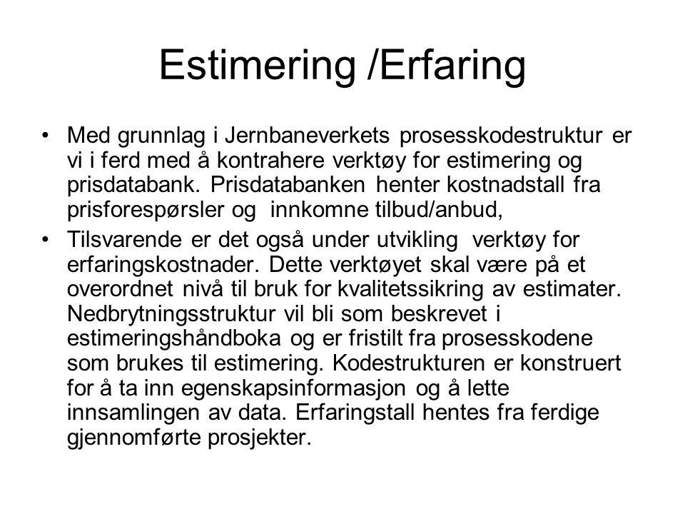 Estimering /Erfaring Med grunnlag i Jernbaneverkets prosesskodestruktur er vi i ferd med å kontrahere verktøy for estimering og prisdatabank.