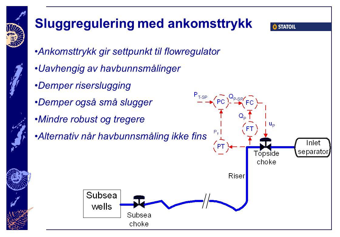 Sluggregulering med ankomsttrykk Ankomsttrykk gir settpunkt til flowregulator Uavhengig av havbunnsmålinger Demper riserslugging Demper også små slugger Mindre robust og tregere Alternativ når havbunnsmåling ikke fins